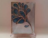 Laughing Flower Tile in White Turquoise/Light Blue Gloss Glaze by Karyn Konkel....FREE SHIPPING