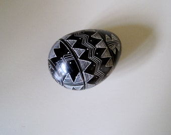 Black onyx Etched Egg carved design decorative hand etchings on egg