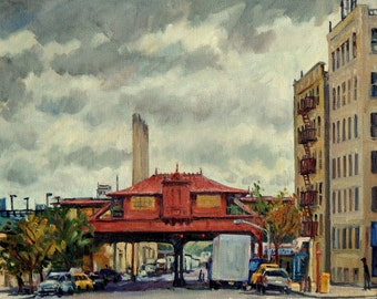 Elevated Subway Station at 215th Street, Inwood. 16x20 NYC Oil Painting on Canvas, Impressionist New York City Fine Art, Signed Original