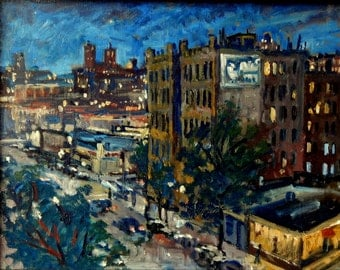Broadway Lights, NYC Nocturne. Realist 11x14 Oil Painting on Panel, New York City Impressionist Night Scene, Signed Original Cityscape