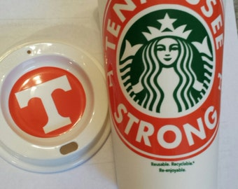 Personalized Starbucks Reusable Coffee Tumbler TENNESSEE Vols / Starbuck Coffee Cup /Tea/Frappuccino/Latte/ Tennessee Vols / Volunteers