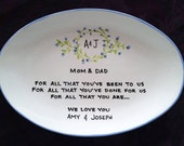 Wedding Gift for Parents Plate  - Thank you Mom and Dad - Parents gift - Wedding Thank you gift - custom plate - Wedding gift Vine Monogram