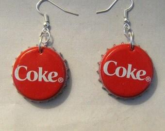 Recycled Coca Cola Coke Soda Pop Bottle Cap Earrings
