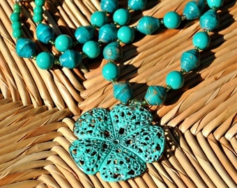 Delicate Teal Filigree Flower Paper Bead Necklace