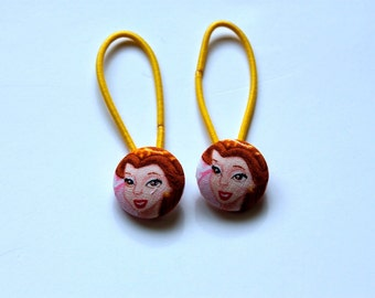 Belle Fabric Covered Button Ponytail Holders