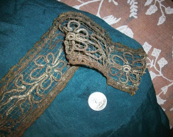 Very old lace antique french metal trim with raised design passementerie