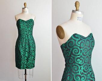 SALE / Vintage 1980s brocade strapless cocktail dress