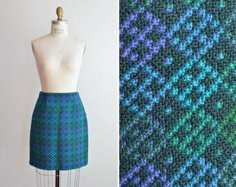 Vintage 1960s woven carpet mini skirt