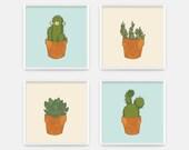Cactus Print - Dorm Decor - Office Wall Art - Cream and Blue Office Print - Desert Cactus Art Print - Cactus Art - CCo