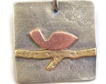 Silver Brass Copper Bird on a Wire Earrings