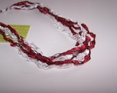 SALE 50% OFF; Christmas Candy Cane Ladder Yarn Necklace in Red and White; Crochet Necklace; Pretty and Practical Fashion Accessory
