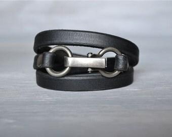 Black Leather Wrap Bracelet with Clip Closure Original Design, Hand Made, Mens Black Leather Bracelet, Womens Black Leather Bracelet,