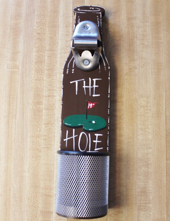 Wall mounted beer bottle opener with cap catcher golf 19th - Wall mounted beer bottle opener cap catcher ...