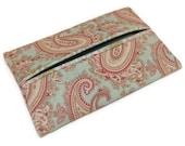 Purse Tissue Holder,  Mint Green Paisley, Kleenex Holder, Travel Tissue Cozy, Pocket Tissue Holder