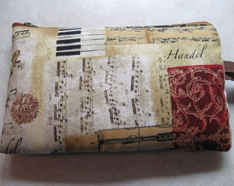 vintage music print large padded bag