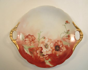 Antique Hand Painted Limoges Plate J.P.L. France Red Poppies Gold Handles Jean Pouyat