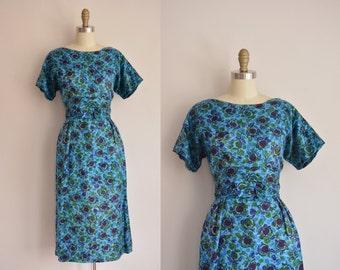 vintage 1950s dress / mulberry print dress / 50s silk wiggle dress