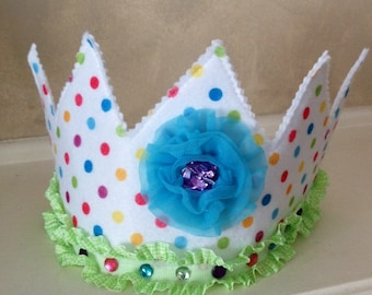Colorful Polka Dot Princess / Birthday Crown  toddler, fairy, hat, dress up, infant