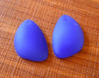 2pcs Sapphire Blue Opaque 25mm earring size Eclipse sea beach glass teardrop pendant bead frosted drop recycled matte