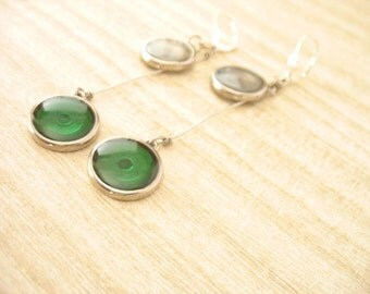Green earrings , silver earrings, silver jewelry, resin earrings jewelry , dot earrings , long dangle earrings , Australia , round earrings