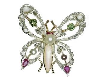 1930s Butterfly Brooch, Gemstone Brooch, Butterfly Jewelry, Diamond Brooch, Insect Brooch, Unique Brooch, Silver Brooch, Gold ref15047-0130