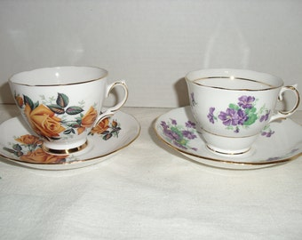 Two Colclough Bone China Cups and Saucers,  Ridgeway Potteries Made in England