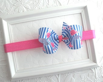 Hot Pink and Blue Bow Headband, Nautical Bow, Baby Hair Bow, Baby Headband, Whale Bow, Preppy Bows, Summer Hair Accessories, Girls Hair Bows