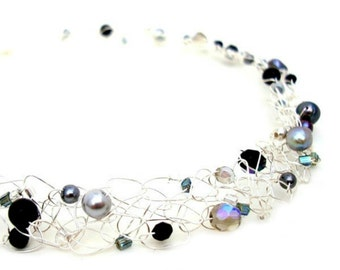 black pearl necklace silver wire choker beaded pearl collar grey black pearl crystal delicate wire mesh jewelry wire crochet
