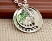 Personalized Mother's Necklace , Birthstone Necklace, Mother's Day, Grandmother Necklace, Child Name, Hand Stamped