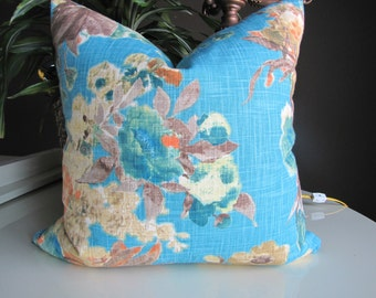 Designer Toss Pillow Turquoise Floral Watercolor Print by Waverly for HGTV / Waverly Tropical Print Pillow