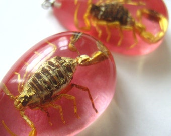 Golden scorpion, pink drop, earrings, cyber goth, pink and gold, by NewellsJewels