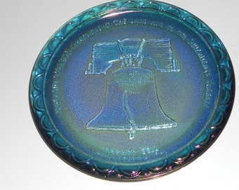 American Bicentennial Commemorative Plate: Liberty Bell-Indiana/Carnival Glass-1976-Collector's Plate