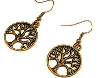 Earrings-Tree of Life in Antique Copper, Antique Brass or Silver