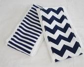 Navy Blue Chevron and Stripes Burp Cloths - Set of 2