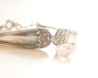 Handmade Spoon Bracelet with Charm Silver Plated Bracelet with Rose Bead