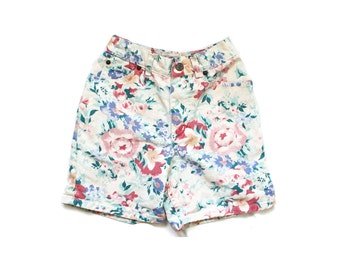 girls shorts 80's vintage floral print denim jean pastel 1980's children's clothing size 8