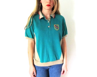 SALE vintage shirt 80s jantzen beige teal green 1980s novelty womens clothing size medium m