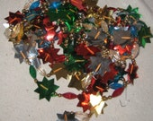 Sorry U Missed Me On Res Christmas Tree Glass Bead Garland Multi Color Plastic beads N Aluminum Stars Almost 7 yards