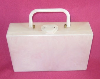 Sweet Chic Box Pearl White Lucite Purse Mad men