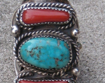 Great Estate Unisex Old pawn Navajo Turquoise Coral Ring Signed Big Chunky