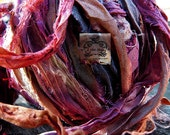 Sari Silk Recycled Ribbon in a Pink Straw Mix Blend