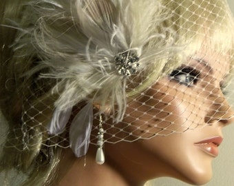 Wedding Fascinator, Bridal Veil, 2 Pc Set, Feather Fascinator, Wedding Hair Clip, Great Gatsby, Vintage Style, Wedding Veil, Rhinestone
