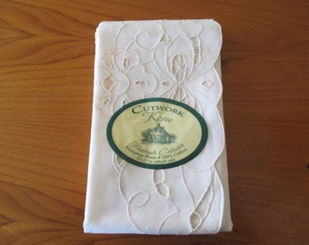 vintage beige cotton PILLOW SHAM - new in package, large, lace, square