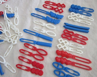 120 vintage barrettes - red white and blue assortment - PATRIOTIC colors