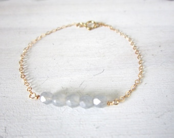 Gray bead bracelet on gold filled chain, Cora, delicate modern jewelry