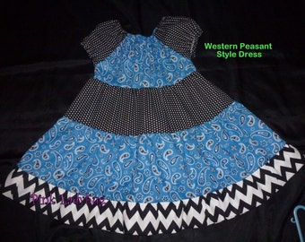 Western Girls Dress Blue and Black Paisley Peasant Style Girls Dress in Size 5/6 is Ready to Ship