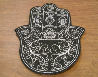 Delicate silver embroidery on black felt ready to ship Chamsa, hamsa, khamsa iron on patch
