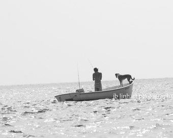 Landscape Photography, Dog and Fisherman, Fishing Boat, Man's Best Friend, Black and White, Outer Banks, Gone Fishin, Best Friends, Ocean