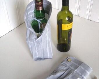 Wine Bottle Gift Bag - Bottle Bag Upcycled Shirt - Cufflink Gift Presentation