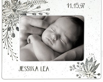 Personalized Photo Frame for Baby Boy or Girl, Ceramic Picture Frame Personalized, Boy & Girl Name, Newborn Photo Frame for Baby Boy or Girl